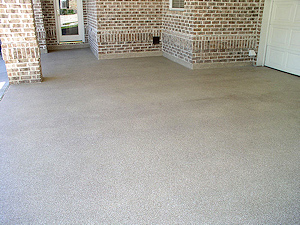 ColorFlake epoxy concrete coating is ideal for a porte-cochere or garage