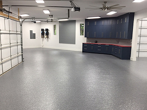 ColorFlake epoxy garage floor coating in Basalt color.