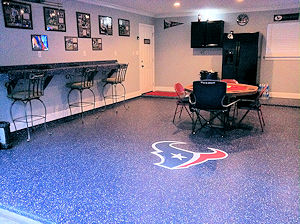 The ColorFlake garage floor epoxy coating is not only attractive and easy to maintain, but is impervious to fuel, motor oil and even brake fluid drips.