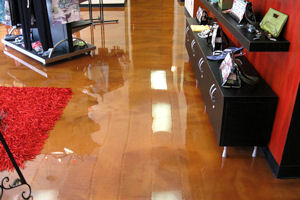 This striking Metallic Epoxy floor in a salon looks inches deep!