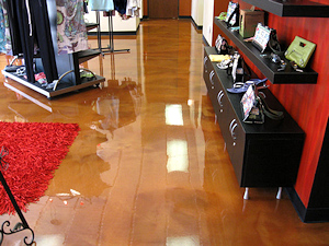 A unique metallic epoxy floor in a salon
