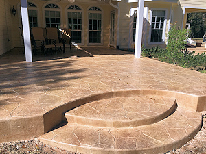 Concrete finishing on this patio was done with a stamped overlay