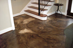Unique concrete acid staining in a home