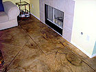 Acid Stained concrete with diagonal scoring by Surface Sysyetms of Texas