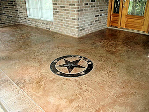 Embossed concrete adds interest to a home entrance