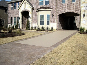 Stamped concrete overlay on a driveway
