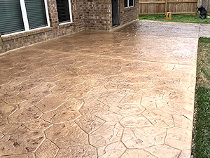 Stamped concrete overaly on a patio