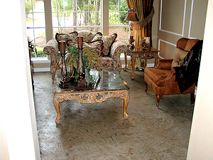 Embossed polymer concrete overlay in an elegant room living room